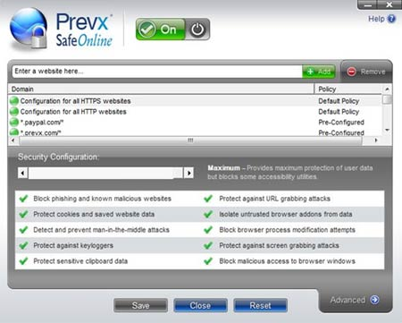 The Prevx SafeOnline Console
